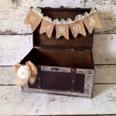 Rustic Wedding Card Holder, Burlap Banner, Burlap and Lace Wedding, Burlap Rose