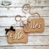 Mr and Mrs Burlap Signs, Set of 2, Rustic Wedding, Chair Signs, Photo Props