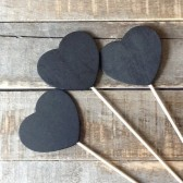 Wooden Heart Chalkboard Signs, Chalk board Sign Set, Set of 12 , Wedding Table Numbers, Rustic Wedding, Chalkboard Table Numbers