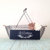 Rustic Wedding Card Box, Country Chic Wire Basket, Chalkboard Basket, Card Holder