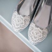 Silver Metallic Glitter Lace Wedding Shoes