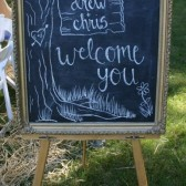 Rustic welcome chalkboard