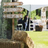 Rustic ceremony/reception this way sign