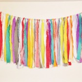 Rainbow rag garland