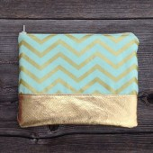 Mint Gold Chevron Clutch