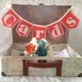 Coral burlap Cards banner