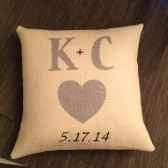 Burlap Wedding gift pillow