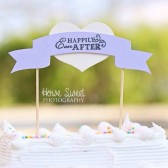 Banner Cake Topper, Wedding Cake Decor, Rustic Chic, Cake Decorations - Happily Ever After