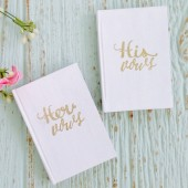 Wedding Vow Books, Set of 2, His and Her Vow Books, Wedding Keepsake, Gold