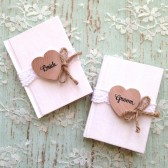 Wedding Vow Books, Set of 2, Rustic Wedding - Personalized