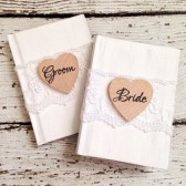 Rustic Wedding Vow Books, Set of 2, Bride and Groom Vow Books