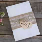 Burlap Guest Book - Personalized, Rustic Chic Wedding, Wedding Book, Advice Bride Book