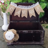 Rustic Wedding Card Box, Wooden Card Trunk, Card Holder, Burlap and Lace Decor, Burlap Wedding Decor