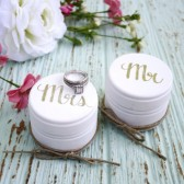 Bride and Groom Ring Bearer Pillow Boxes, Set of 2