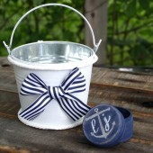 Flowergirl Basket And Ring Bearer Box, Pillow/ SET. Nautical Wedding - Personalized