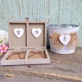 Rustic Flower Girl Basket and Ring Bearer Box, Pillow/ SET. Burlap Wedding - Personalized
