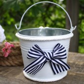 Nautical Flower Girl Basket, Navy Blue And White Wedding, Small Bucket