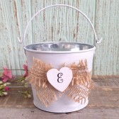 Flower Girl Bucket, Basket - Personalized. Burlap Flower Girl Basket, Burlap Wedding Bucket, Rustic Flower Girl Basket - Small