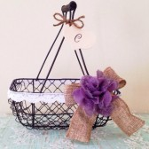 Rustic Flower Girl Basket - Wire Wedding Basket, Burlap Wedding