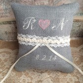 Gray burlap personalized ring pillow