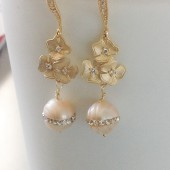 Champagne pearls and floral gold earrings