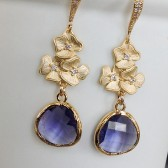 Floral earrings with purple crystal, bridesmaids jewelry