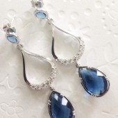 silver teardrop earrings with sapphire glass drop