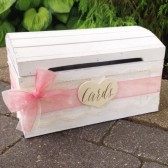 Shabby Chic Wedding Card Trunk, Bridal Shower, White Chest, Lace, Peach, Vintage Card Box