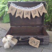 Personalized Wedding Card Box, Rustic Wedding, Burlap Card Banner