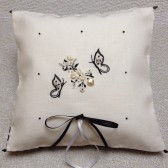 Black and White Butterfly Theme Ring Pillow