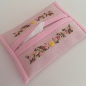 Hand Embroidered Pink Tissue Holder