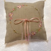Shabby Chic Hand Embroidered Ring Pillow