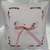 Personalized Hand Embroidered Ring Pillow
