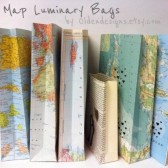 Map luminary bags for travel themed decor