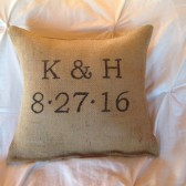 Personalized Pillow, Wedding Date Pillow, Rustic Decor