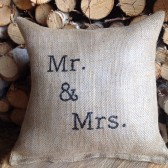 Mr. And Mrs. Pillow, Wedding gift, Burlap pillow