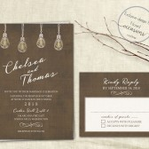 Industrial chic wedding invitation set designed with vintage light bulbs which you can print on your own or have us print for you. The background is an aged barn wood with very faint handwriting giving it a romantic touch. Modern Meets Romantic with this industrial chic wedding invite.
