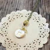 Ivory and gold Personalized bridesmaids initial pendant necklace