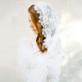 Style 302 - Beaded Lace Bridal Veil by SIBO Designs