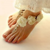 bridal-barefoot-sandals, ivory-wedding-sandals, floral-sandals, roses, pearls, ivory, hemp, beach-footwear