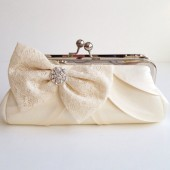 Ivory Satin & Lace Bridal Clutch