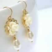Ivory Gables Flower Earrings