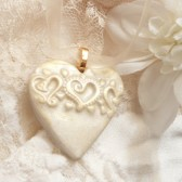 Wedding Jewelry, Ivory Heart Pendant, Heart Bouquet Charm, Wedding Accessories, Bride Gift, Bridesmaid Gift