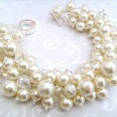 Bridal Jewelry, Wedding, Pearl Bridesmaid Bracelet, Cluster Bracelet, Pearl Bracelet, Ivory Pearl Jewelry