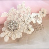 Vintage Lace Headpiece, Lace Bridal Hair Accessory, rhinestone bridal hair comb, lace headpiece, beaded lace headpiece