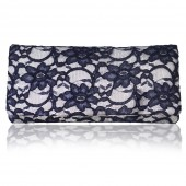 Astrid ivory and navy lace clutch