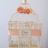 Ivory Birdcage Wedding Card Holder with Peach Ranunculus