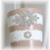 Ivory Lace Rhinestone and Pearl Wedding Garter Set, Bridal Garter, Garter Set, Keepsake and Toss Wedding Garter Set