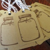 Kraft Mason Jar Wedding Favor Tags