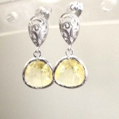 yellow glass studs earrings